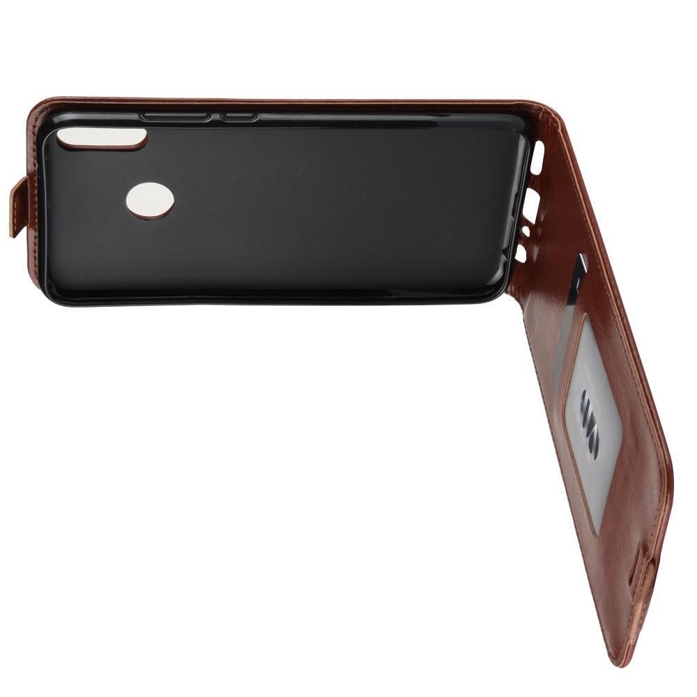 Вертикальный флип чехол книжка с откидыванием вниз для Huawei Honor 10 Lite - Коричневый