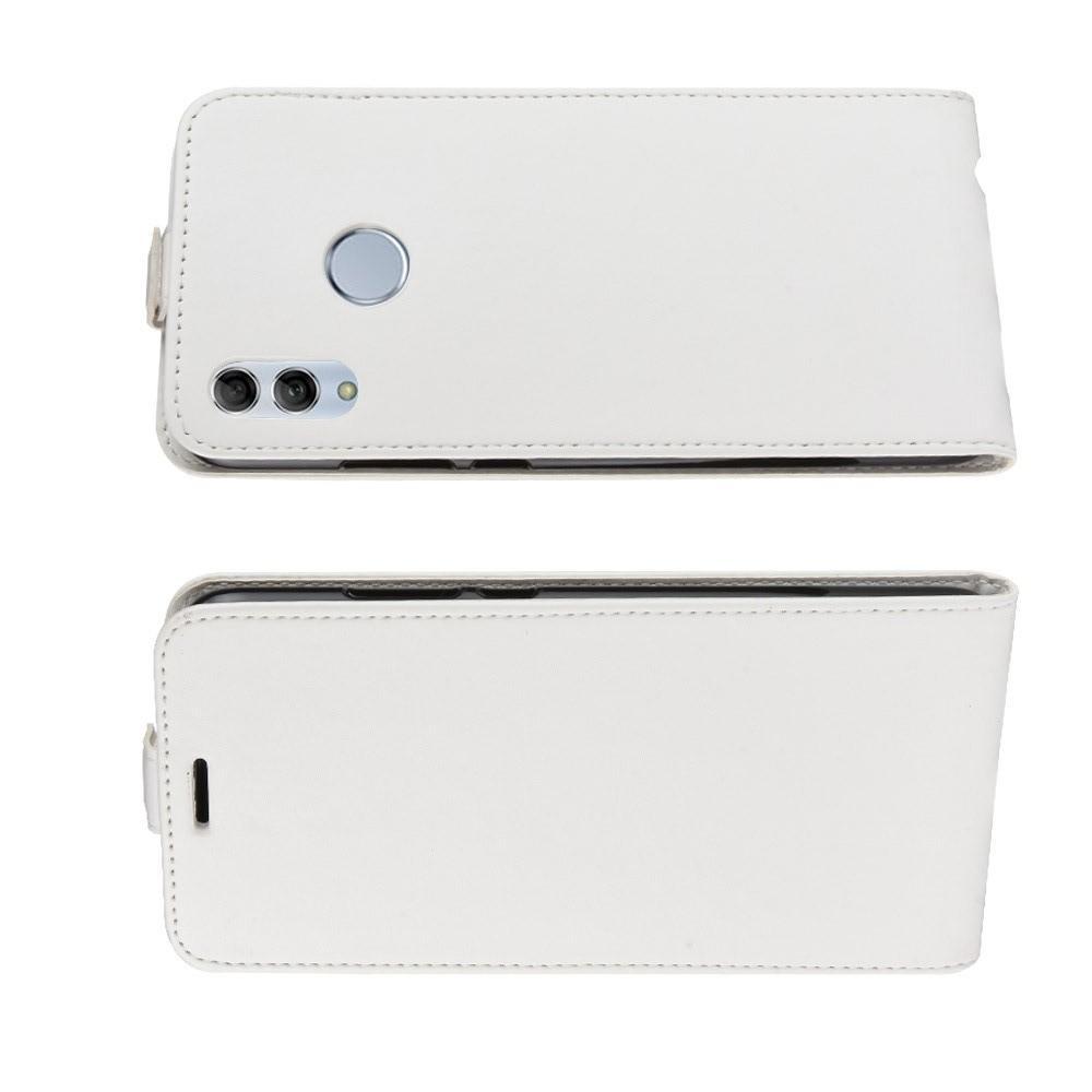 Вертикальный флип чехол книжка с откидыванием вниз для Huawei Honor 10 Lite - Белый