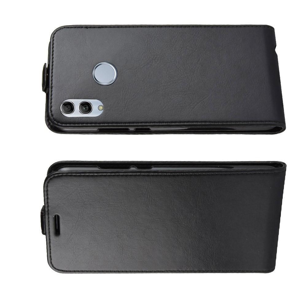 Вертикальный флип чехол книжка с откидыванием вниз для Huawei Honor 10 Lite - Черный