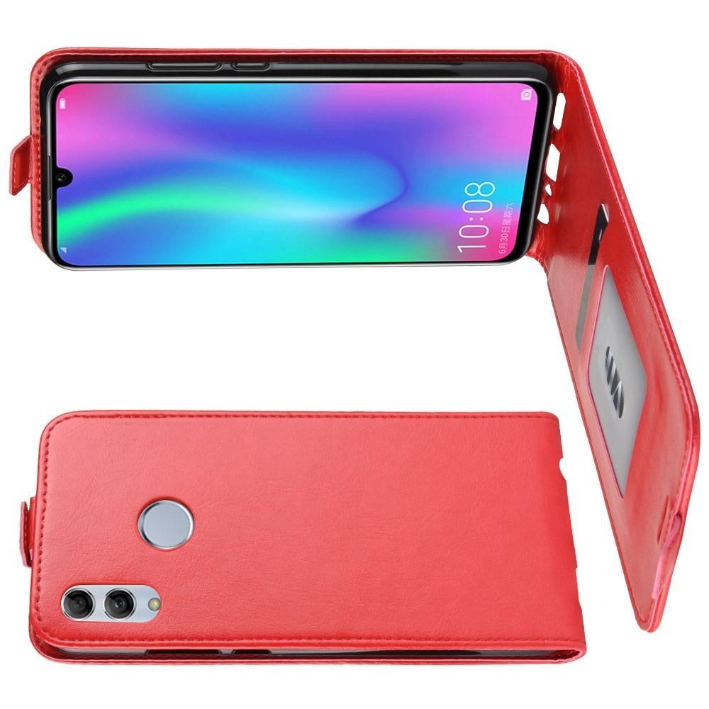 Вертикальный флип чехол книжка с откидыванием вниз для Huawei Honor 10 Lite - Красный