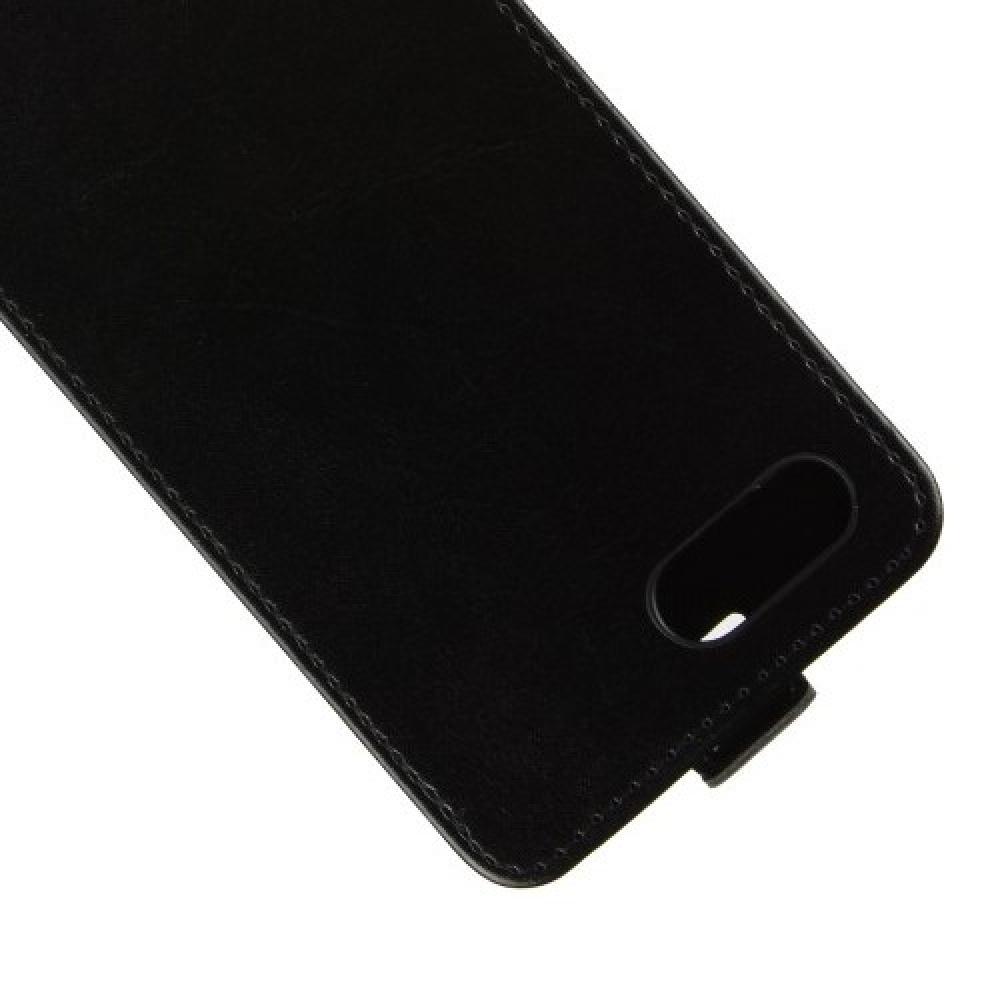 Вертикальный флип чехол книжка с откидыванием вниз для Huawei Honor 10 - Черный