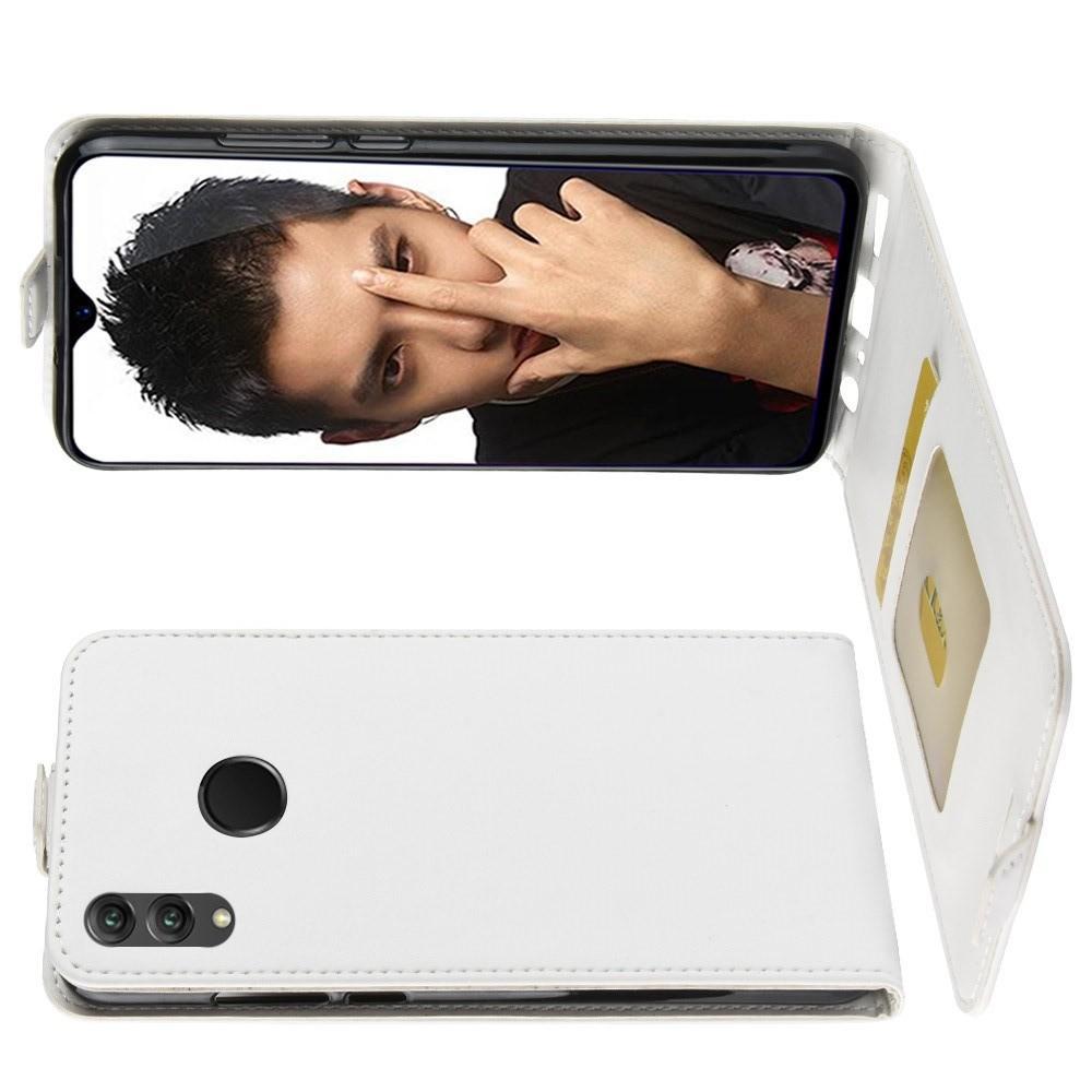 Вертикальный флип чехол книжка с откидыванием вниз для Huawei Honor 8X - Белый