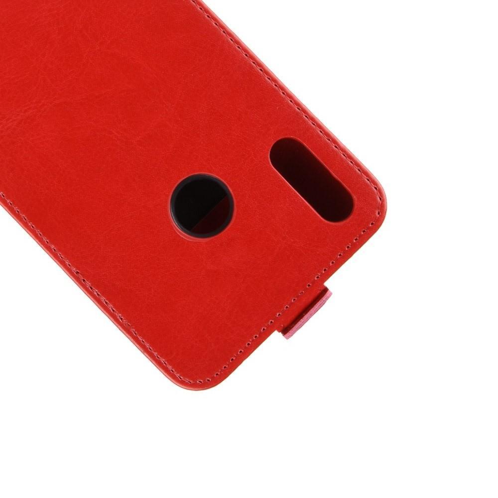 Вертикальный флип чехол книжка с откидыванием вниз для Huawei Honor 8X - Красный