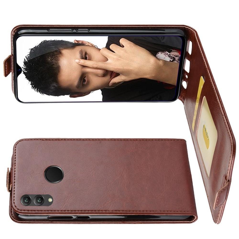 Вертикальный флип чехол книжка с откидыванием вниз для Huawei Honor 8X - Коричневый