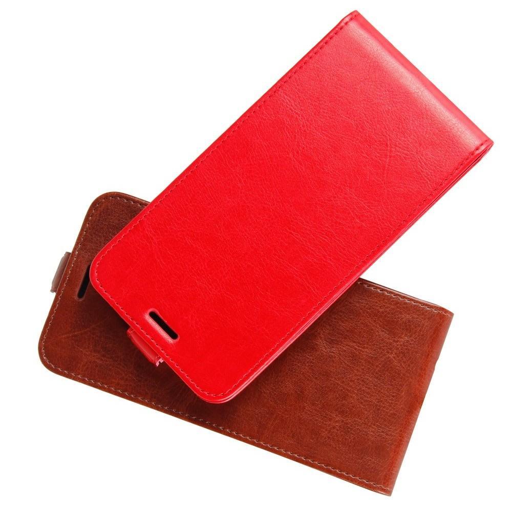 Вертикальный флип чехол книжка с откидыванием вниз для Huawei Honor View 20 (V20) - Красный