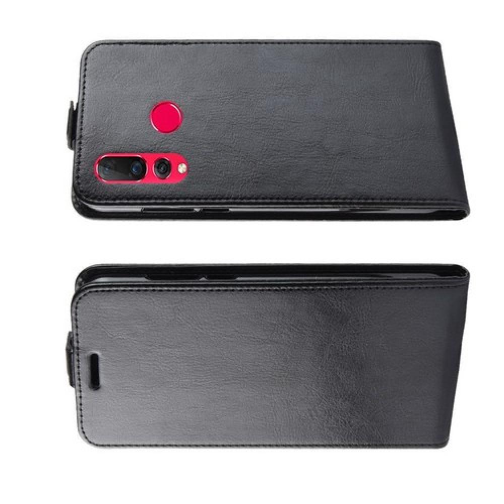 Вертикальный флип чехол книжка с откидыванием вниз для Huawei Nova 4 - Черный