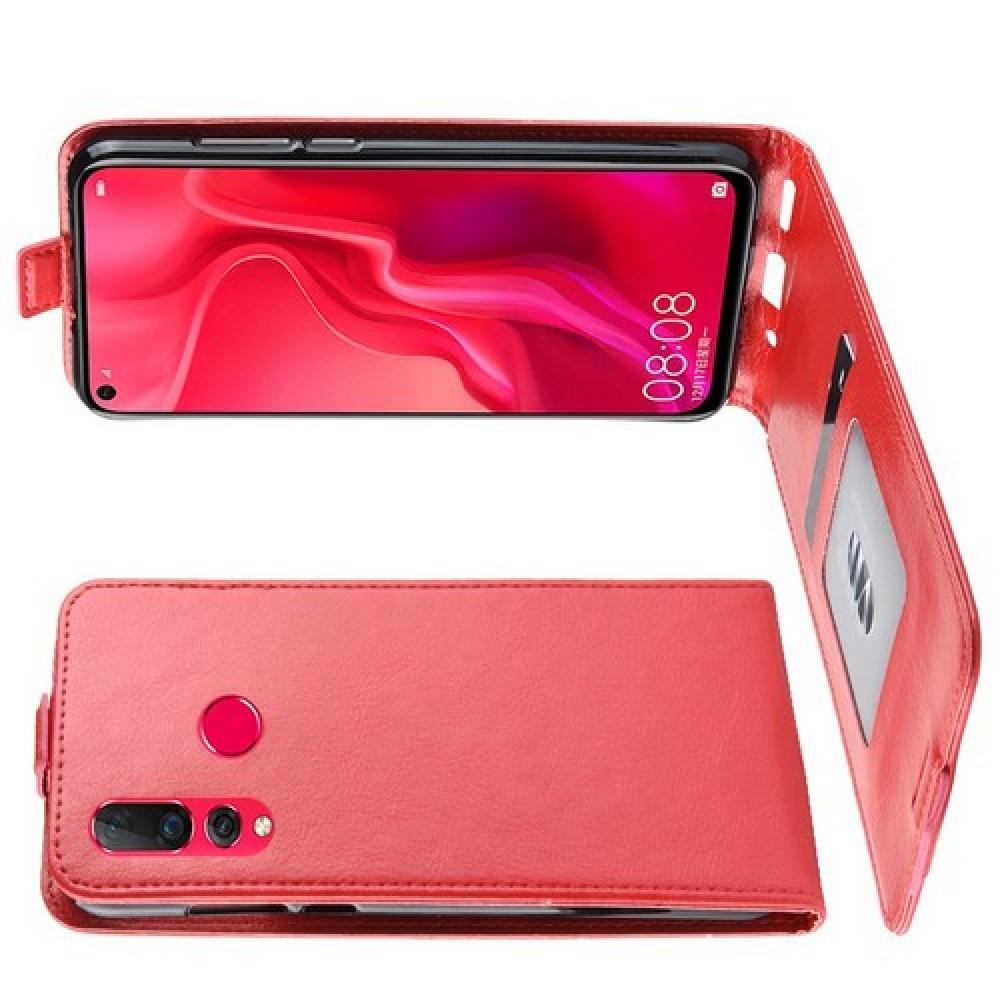 Вертикальный флип чехол книжка с откидыванием вниз для Huawei Nova 4 - Красный