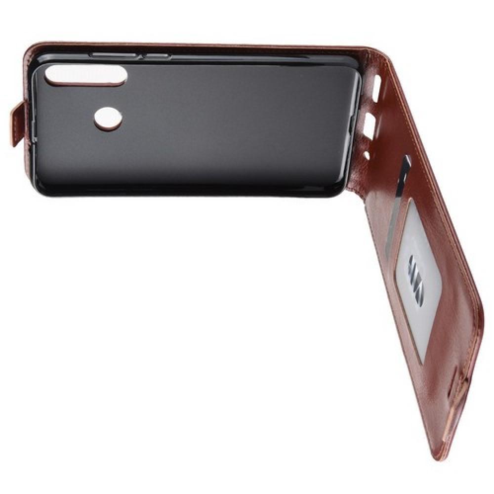 Вертикальный флип чехол книжка с откидыванием вниз для Huawei Nova 4 - Коричневый