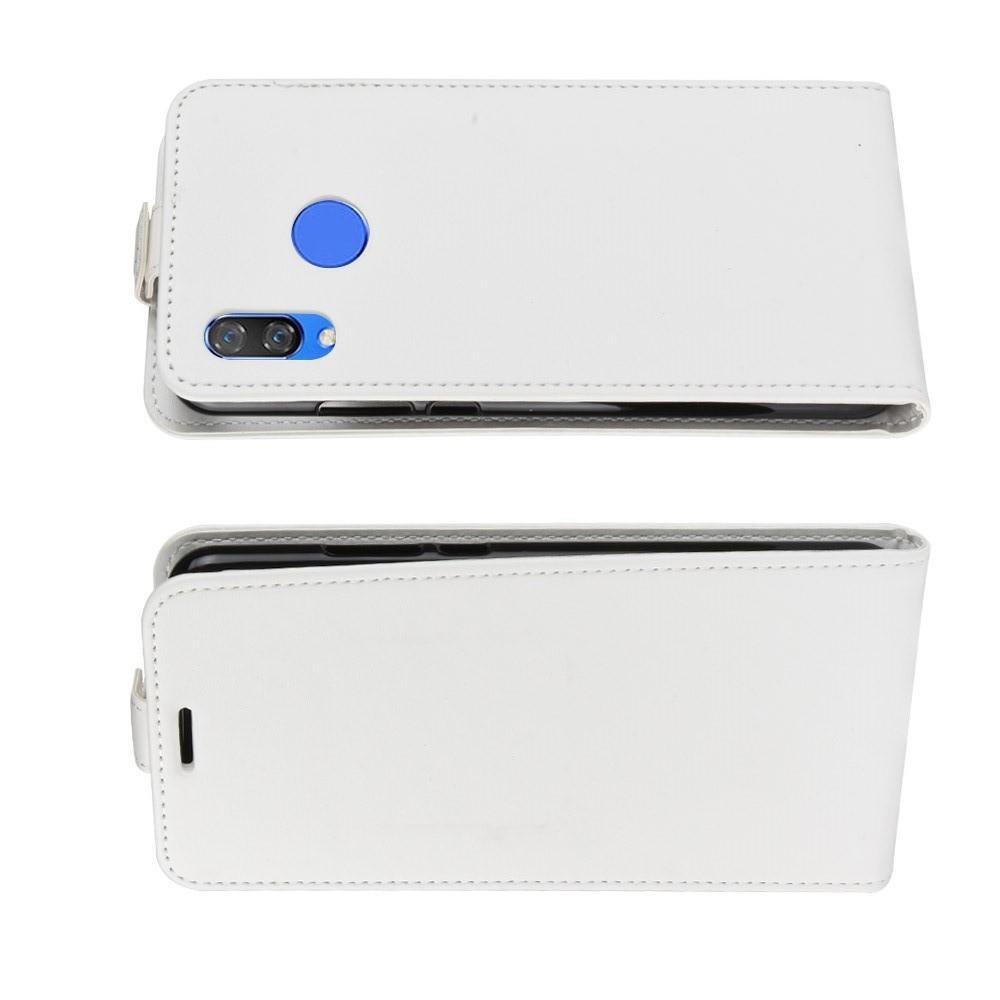 Вертикальный флип чехол книжка с откидыванием вниз для Huawei P smart+ / Nova 3i - Белый