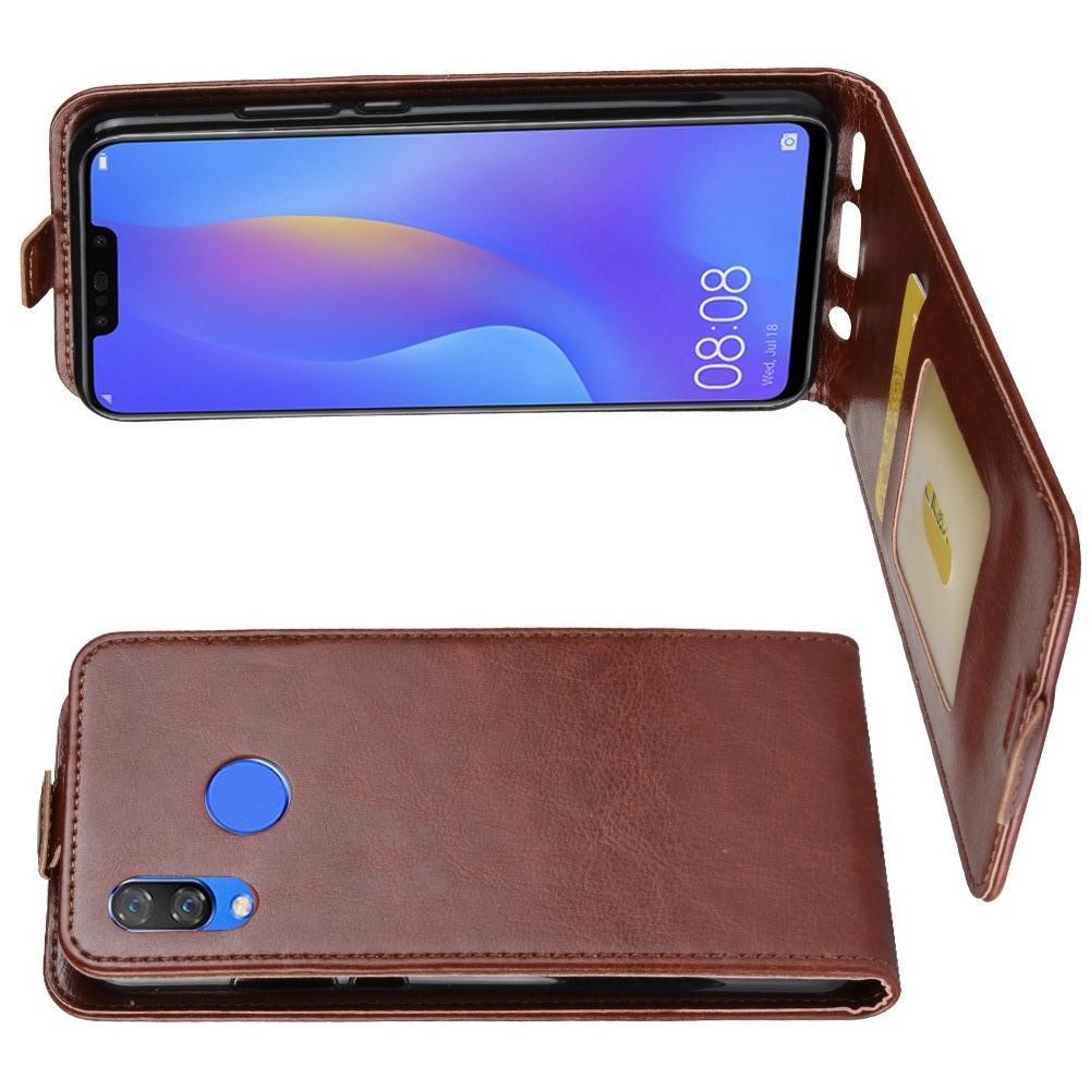 Вертикальный флип чехол книжка с откидыванием вниз для Huawei P smart+ / Nova 3i - Коричневый