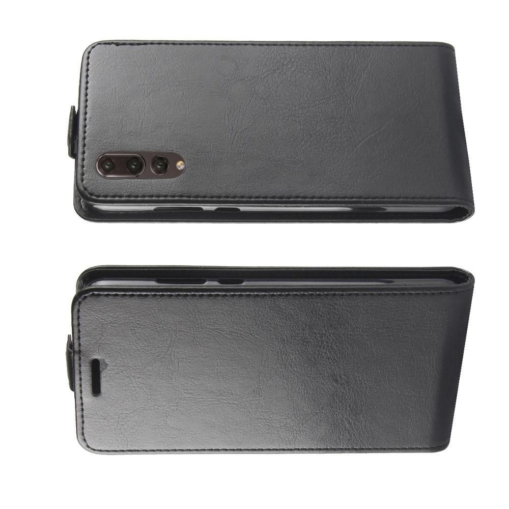 Вертикальный флип чехол книжка с откидыванием вниз для Huawei P20 - Черный