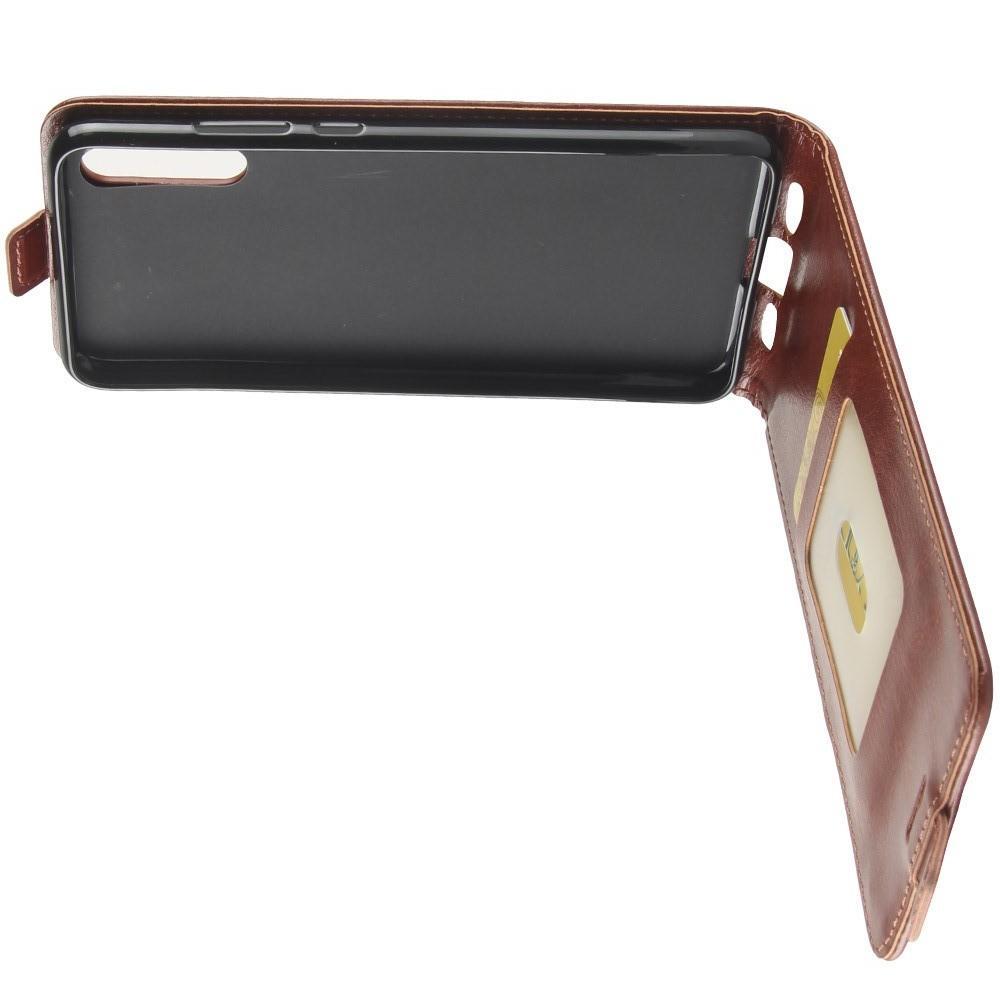 Вертикальный флип чехол книжка с откидыванием вниз для Huawei P20 - Коричневый