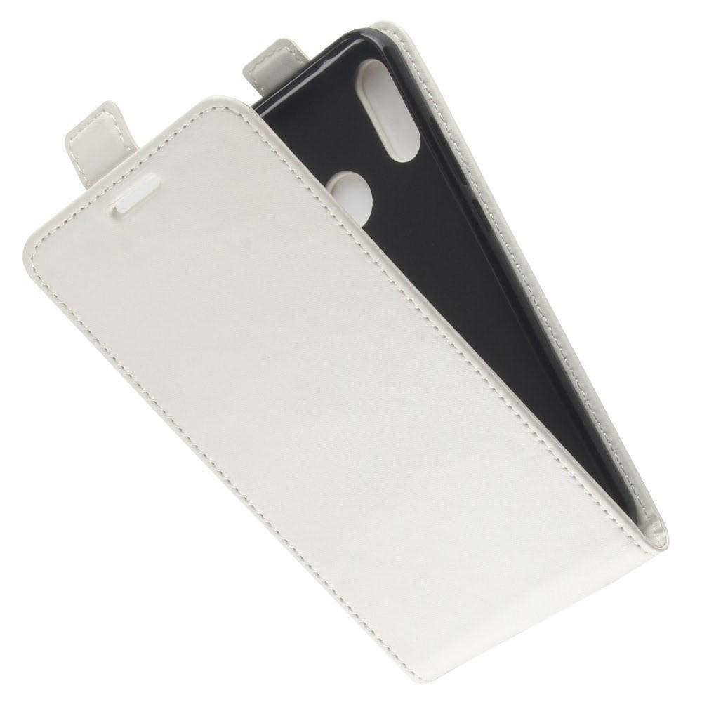 Вертикальный флип чехол книжка с откидыванием вниз для Huawei P20 lite - Белый
