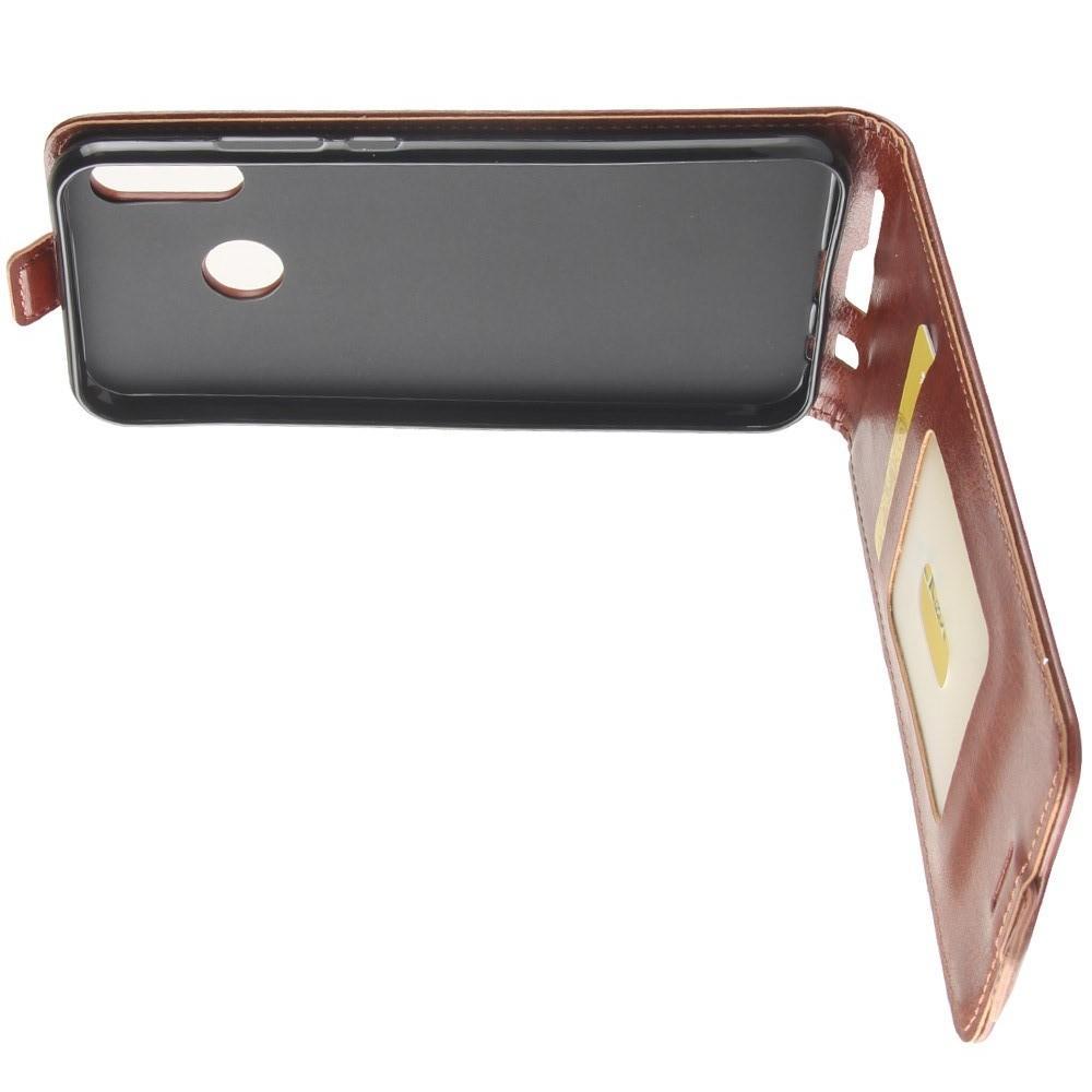 Вертикальный флип чехол книжка с откидыванием вниз для Huawei P20 lite - Коричневый