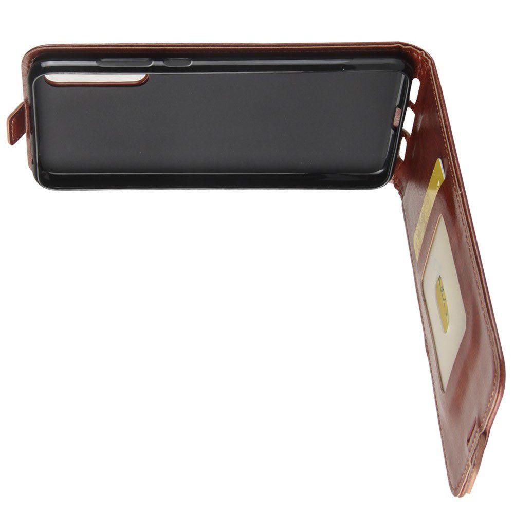 Вертикальный флип чехол книжка с откидыванием вниз для Huawei P20 Pro - Коричневый
