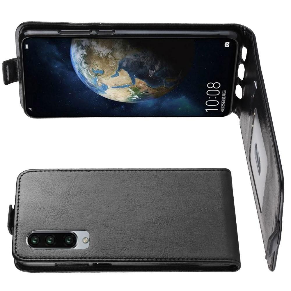Вертикальный флип чехол книжка с откидыванием вниз для Huawei P30 - Черный