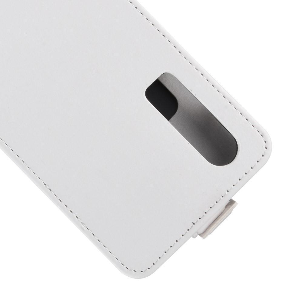 Вертикальный флип чехол книжка с откидыванием вниз для Huawei P30 - Белый