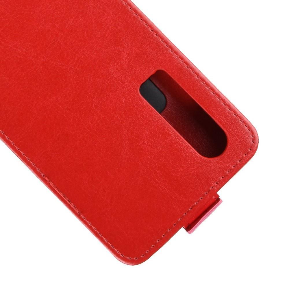 Вертикальный флип чехол книжка с откидыванием вниз для Huawei P30 - Красный