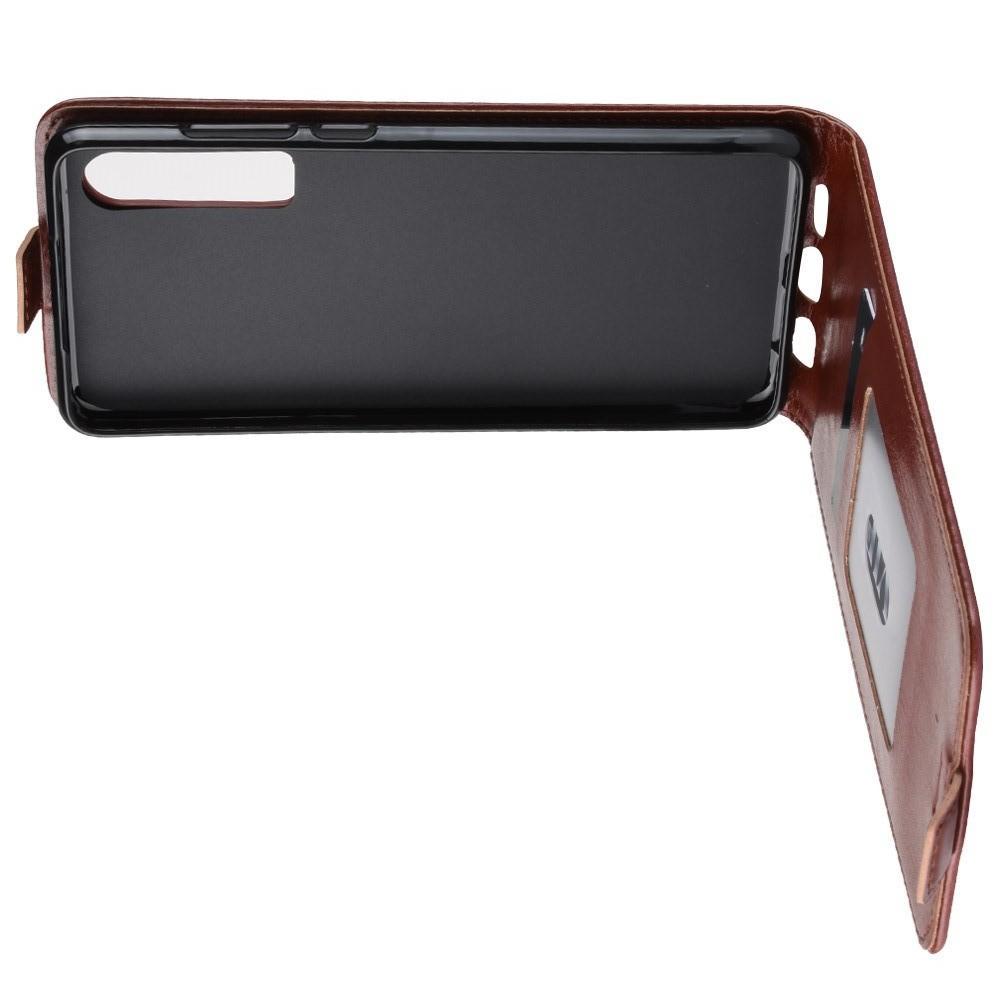 Вертикальный флип чехол книжка с откидыванием вниз для Huawei P30 - Коричневый