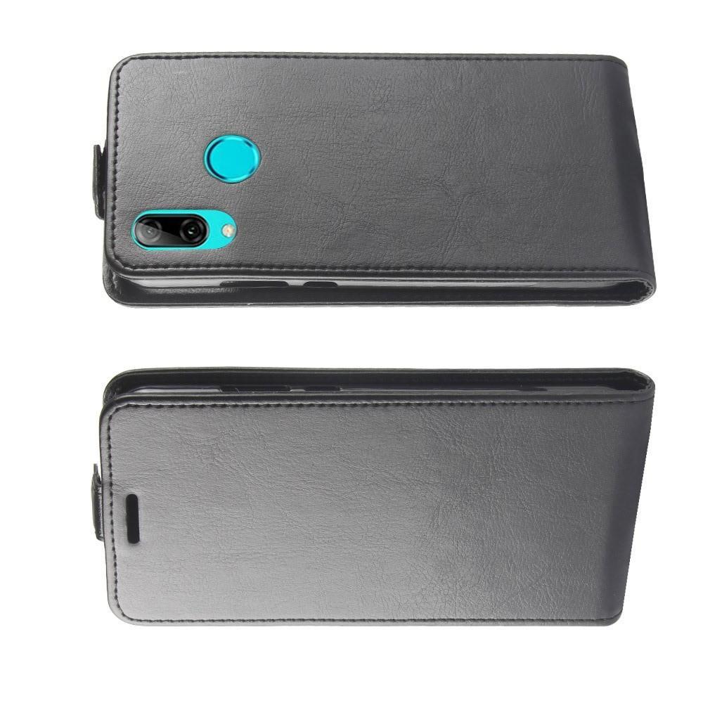 Вертикальный флип чехол книжка с откидыванием вниз для Huawei P30 Lite - Черный