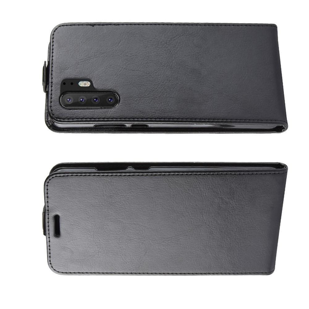 Вертикальный флип чехол книжка с откидыванием вниз для Huawei P30 Pro - Черный