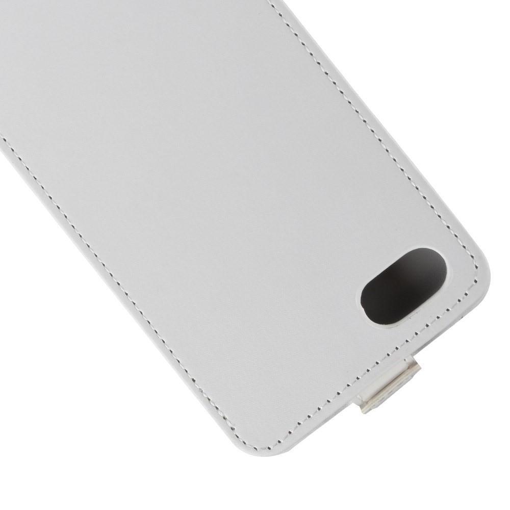 Вертикальный флип чехол книжка с откидыванием вниз для Huawei Y5 2018 / Y5 Prime 2018 / Honor 7A - Белый