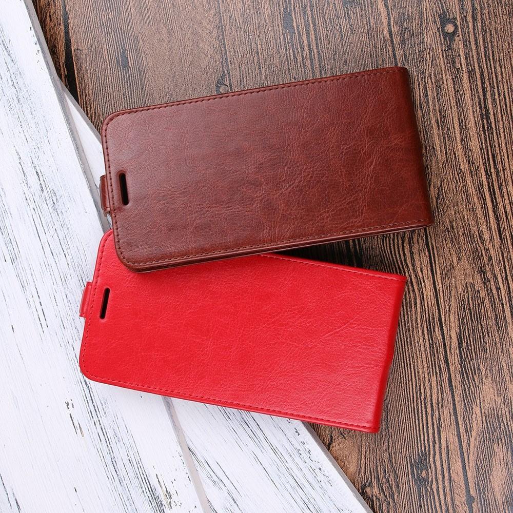 Вертикальный флип чехол книжка с откидыванием вниз для Huawei Y5 2018 / Y5 Prime 2018 / Honor 7A - Красный