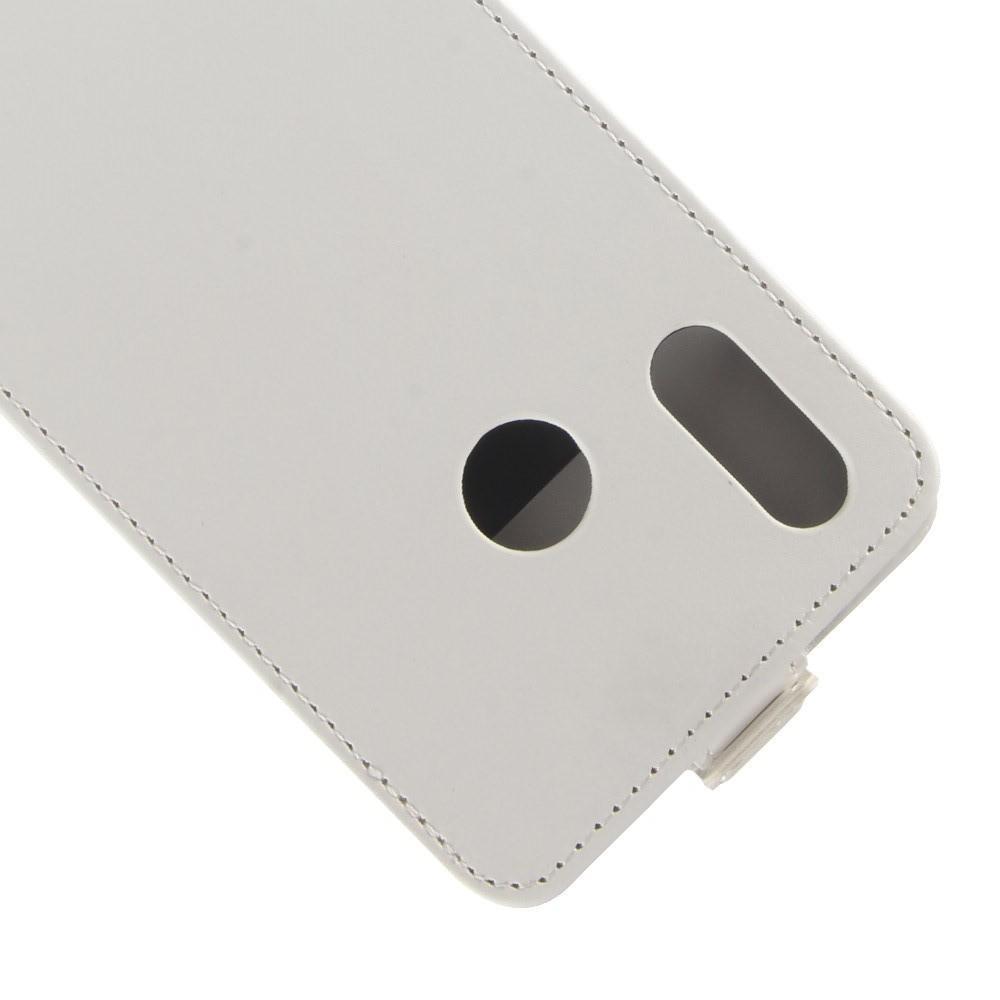 Вертикальный флип чехол книжка с откидыванием вниз для Huawei Y7 2019 - Белый