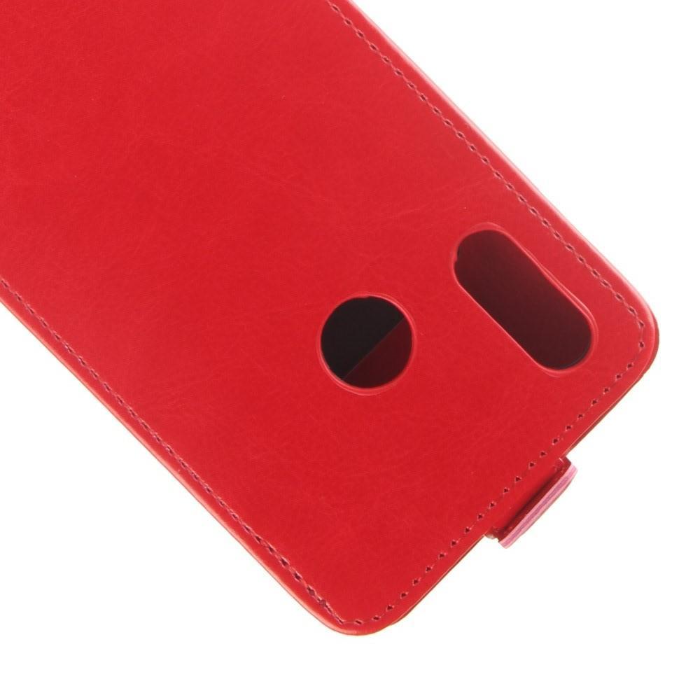 Вертикальный флип чехол книжка с откидыванием вниз для Huawei Y7 2019 - Красный