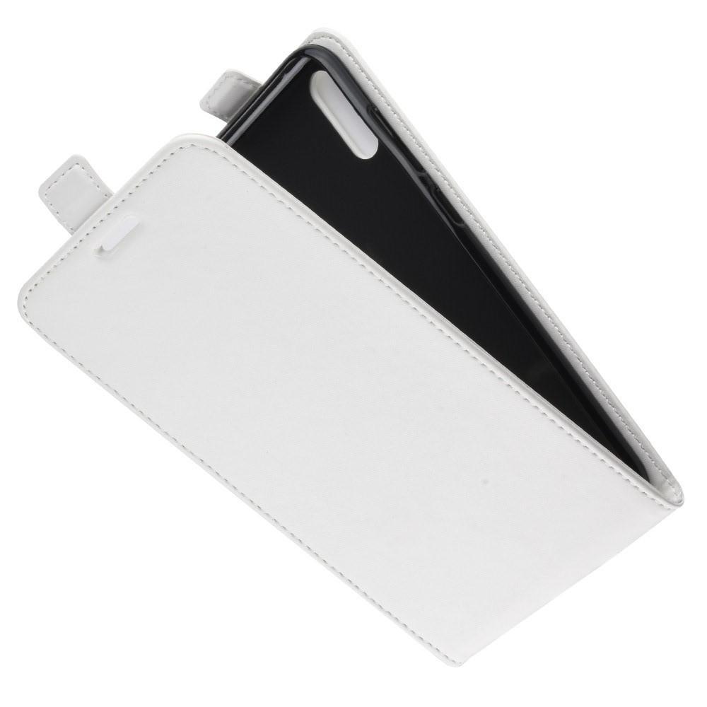 Вертикальный флип чехол книжка с откидыванием вниз для Huawei Y7 Pro 2019 - Белый