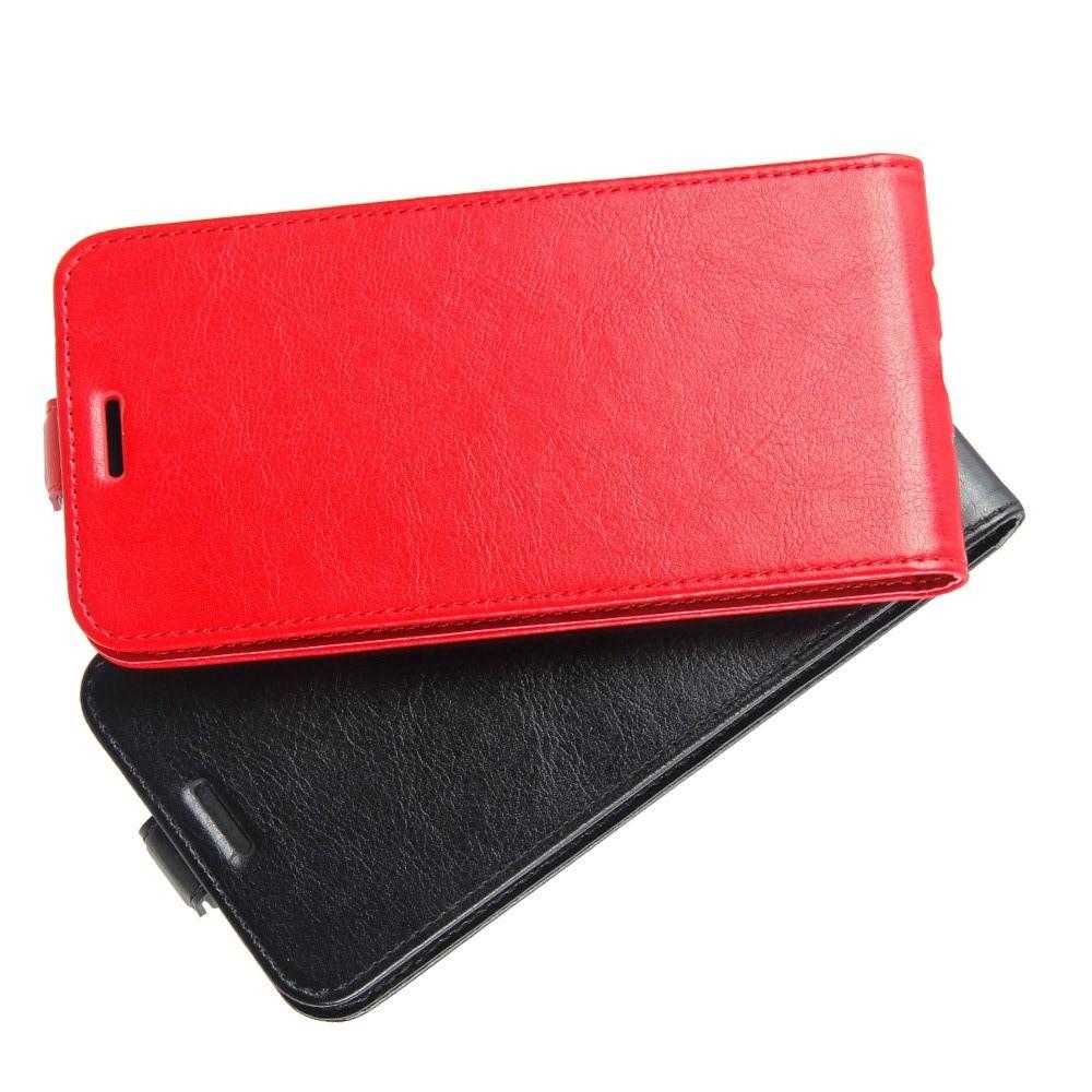 Вертикальный флип чехол книжка с откидыванием вниз для Huawei Y7 Pro 2019 - Красный