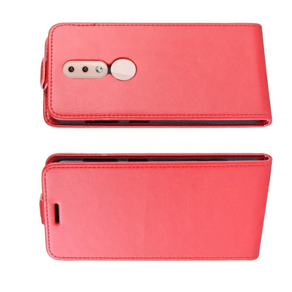 Вертикальный флип чехол книжка с откидыванием вниз для Nokia 4.2 - Красный