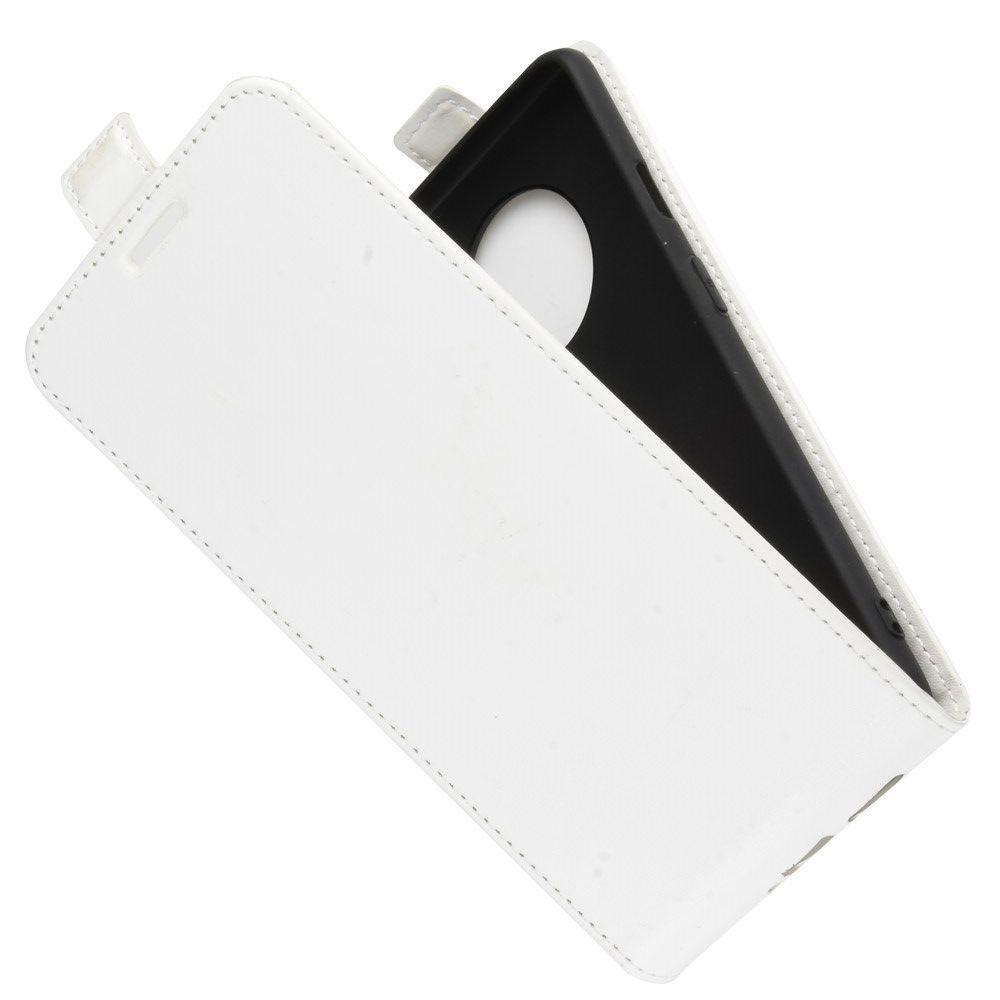 Вертикальный флип чехол книжка с откидыванием вниз для OnePlus 7T - Белый