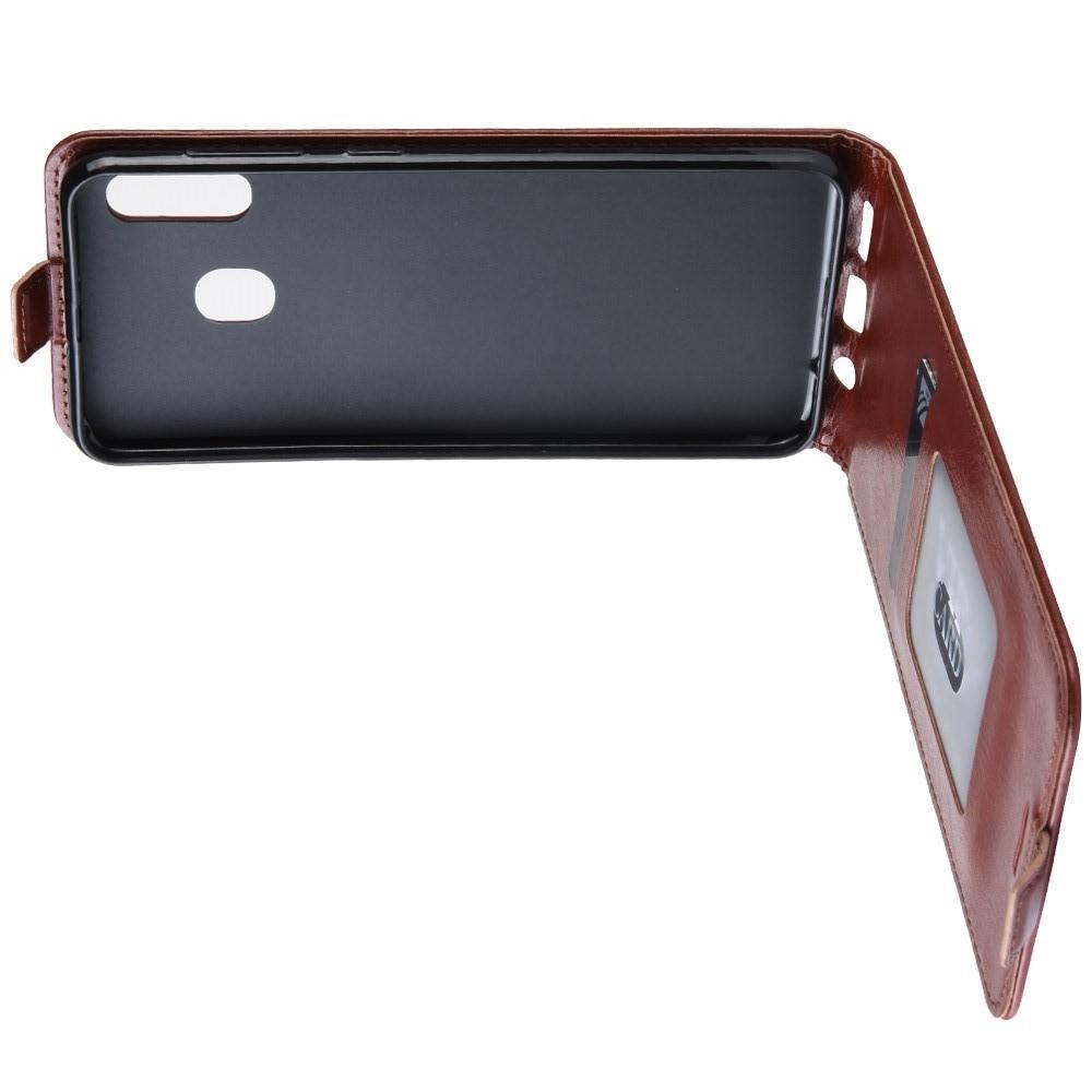 Вертикальный флип чехол книжка с откидыванием вниз для Samsung Galaxy A20e - Коричневый