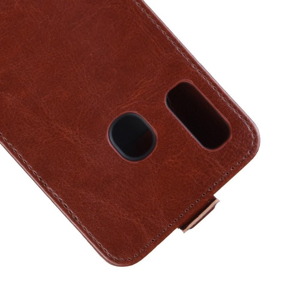 Вертикальный флип чехол книжка с откидыванием вниз для Samsung Galaxy A30 / A20 - Коричневый
