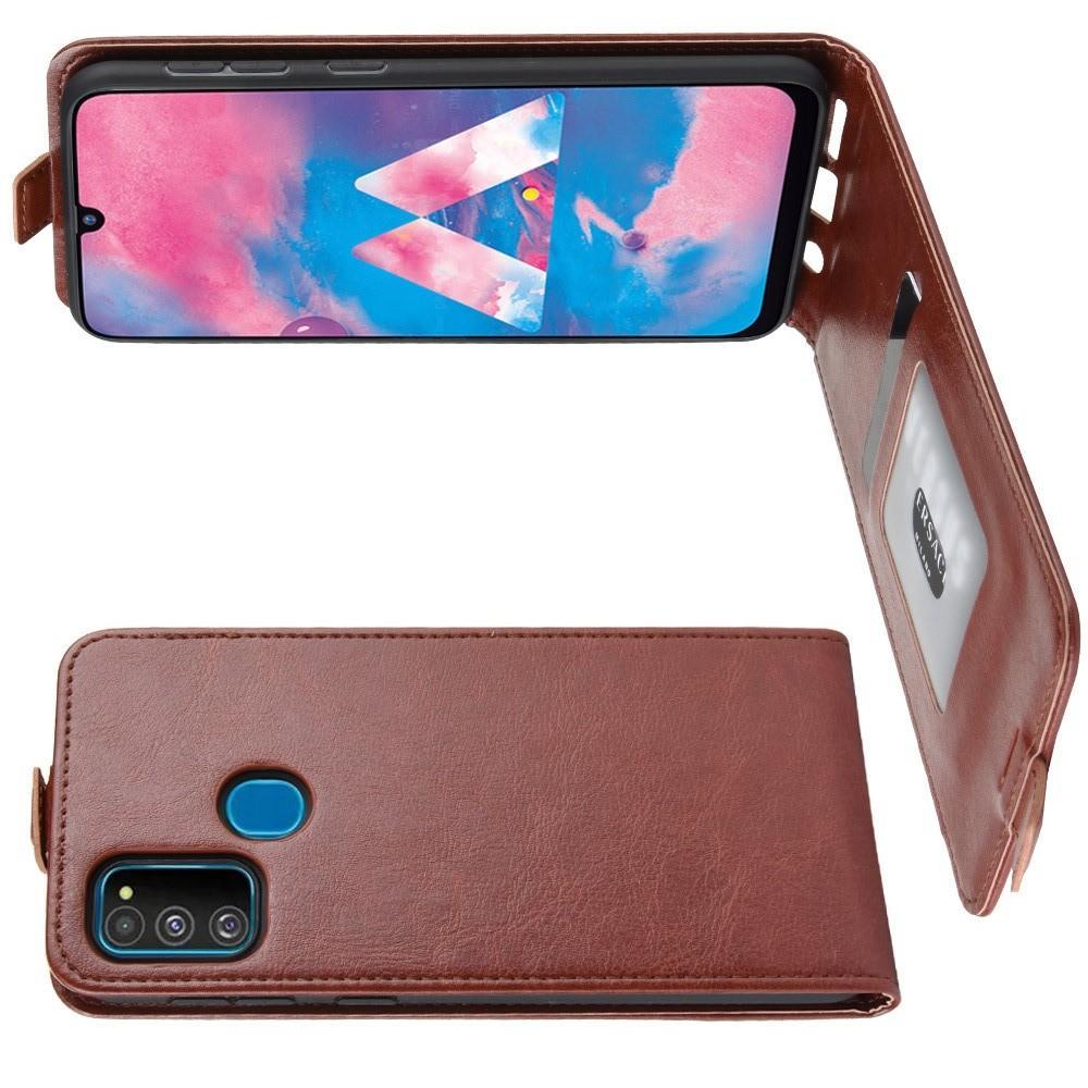 Вертикальный флип чехол книжка с откидыванием вниз для Samsung Galaxy M30s - Коричневый