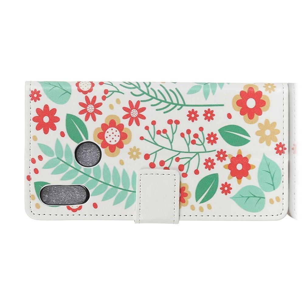 Защитный Флип Чехол для Huawei Honor 8X в Виде Книжки с Рисунком Цветы