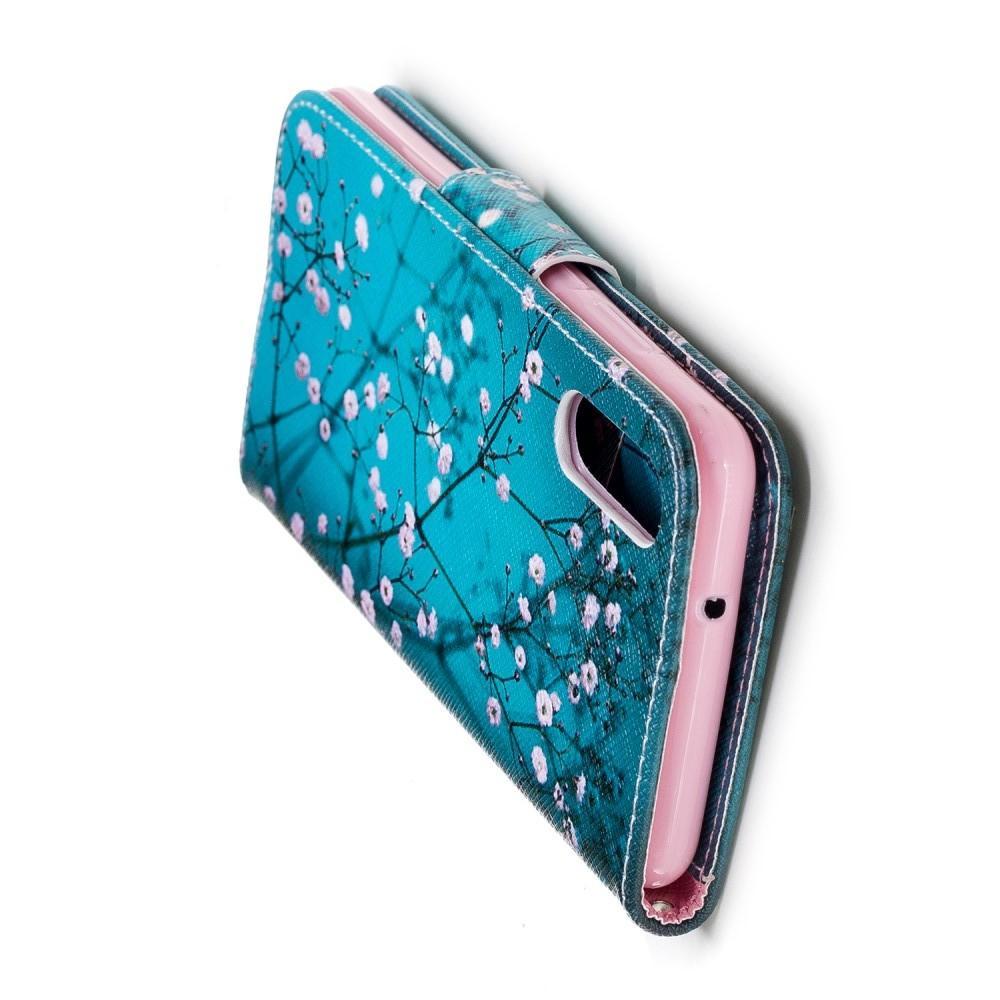 Защитный Флип Чехол для Huawei P20 в Виде Книжки с Рисунком Сакура