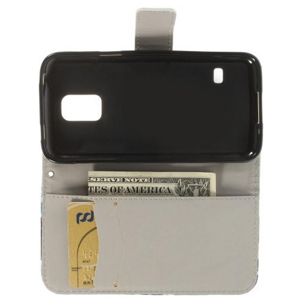Защитный Флип Чехол для Samsung Galaxy S5 Mini в Виде Книжки с Рисунком Тигр