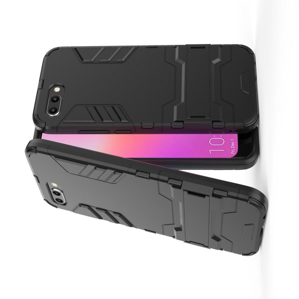 Защитный усиленный гибридный чехол противоударный с подставкой для Huawei Honor 10 Черный