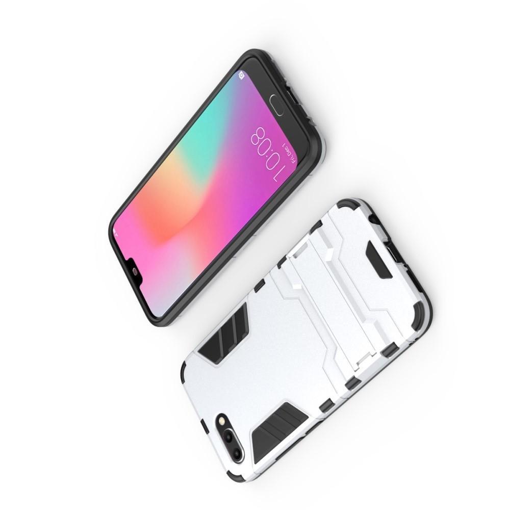 Защитный усиленный гибридный чехол противоударный с подставкой для Huawei Honor 10 Белый