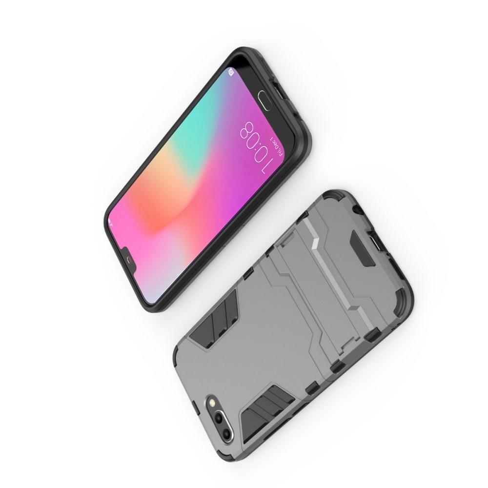 Защитный усиленный гибридный чехол противоударный с подставкой для Huawei Honor 10 Серый
