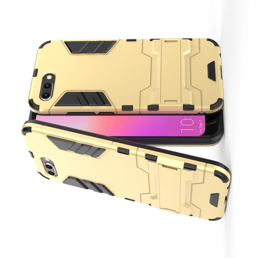 Защитный усиленный гибридный чехол противоударный с подставкой для Huawei Honor 10 Золотой