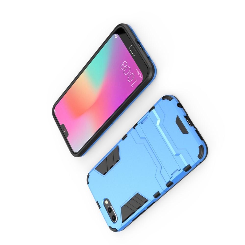 Защитный усиленный гибридный чехол противоударный с подставкой для Huawei Honor 10 Голубой