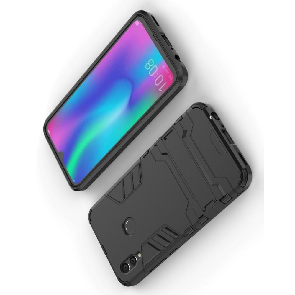 Защитный усиленный гибридный чехол противоударный с подставкой для Huawei Honor 10 Lite Черный