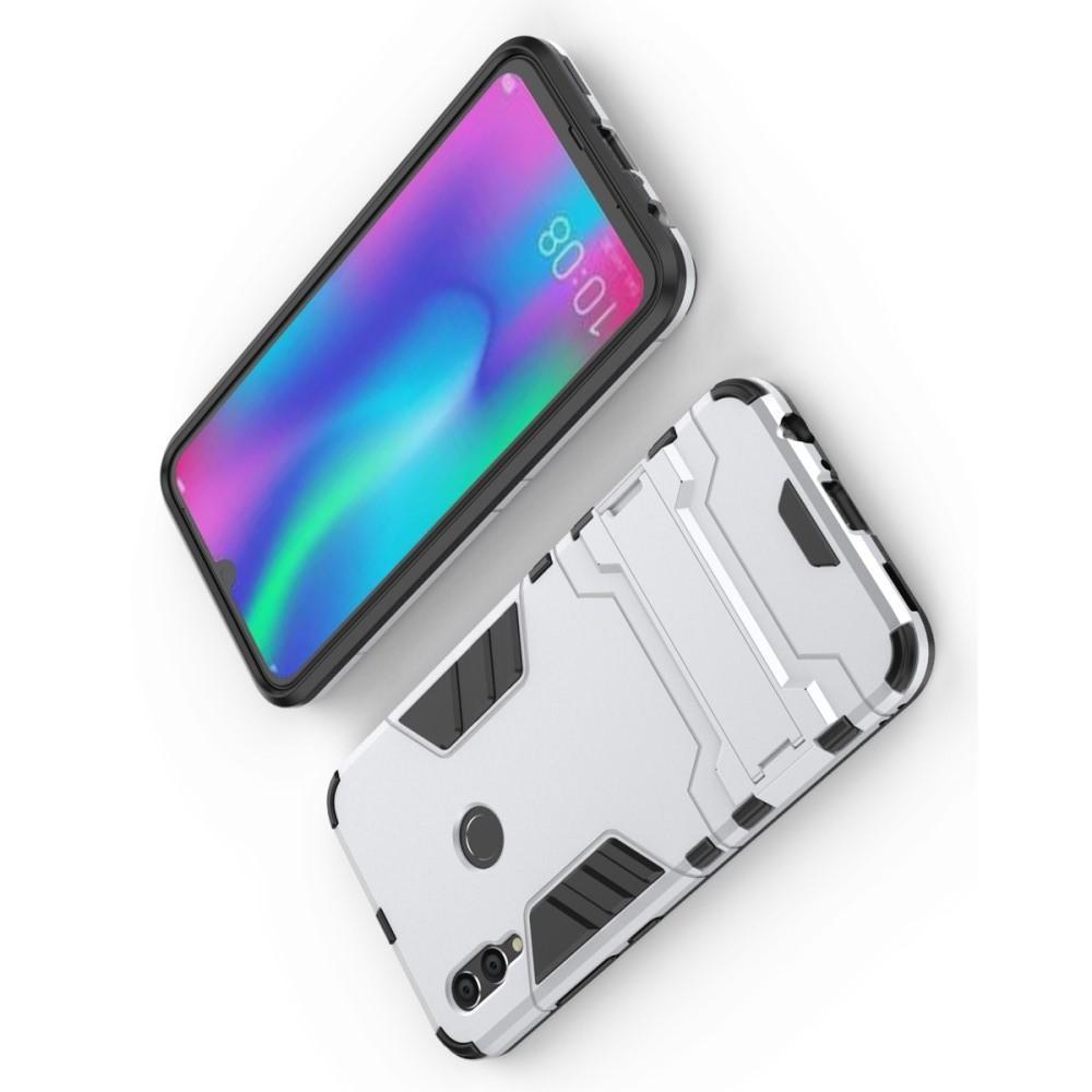 Защитный усиленный гибридный чехол противоударный с подставкой для Huawei Honor 10 Lite Серебряный