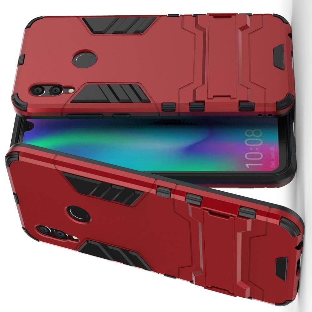Защитный усиленный гибридный чехол противоударный с подставкой для Huawei Honor 10 Lite Красный