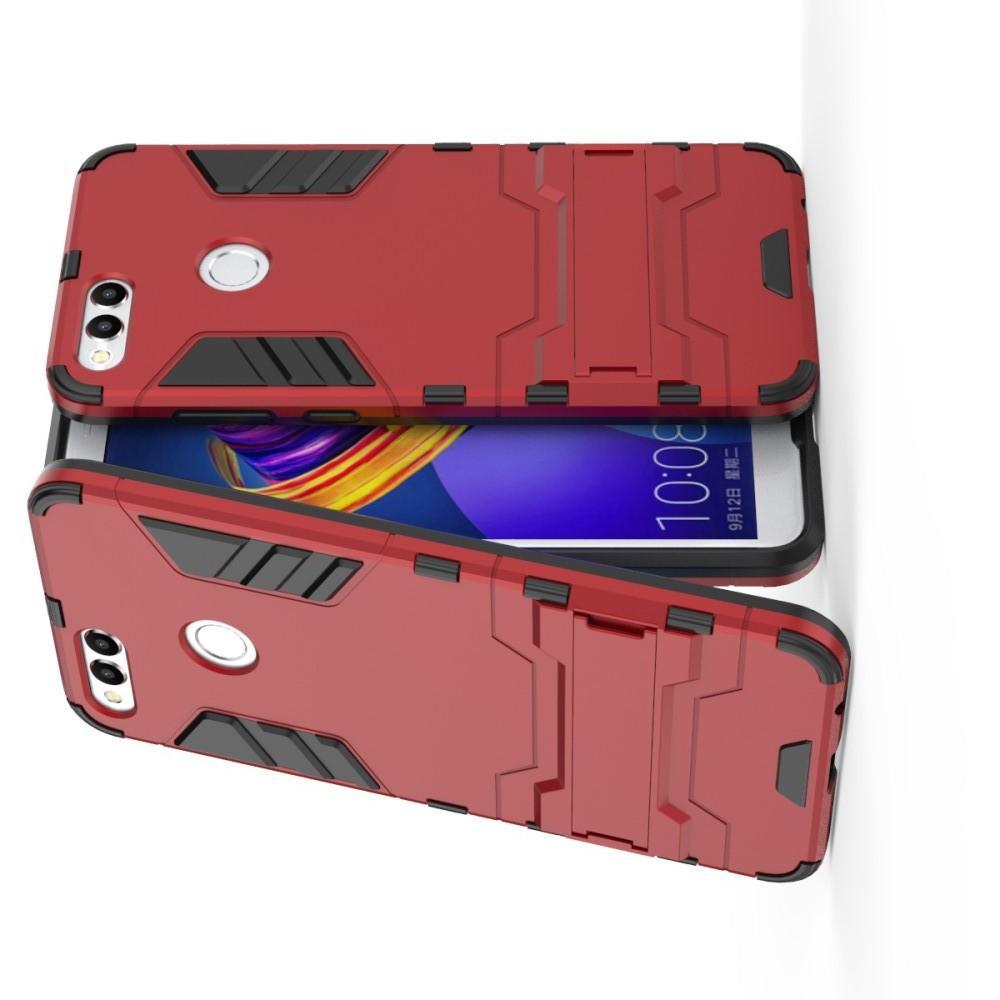 Защитный усиленный гибридный чехол противоударный с подставкой для Huawei Honor 7X Красный