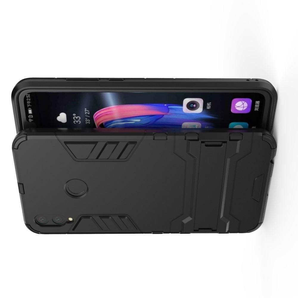 Защитный усиленный гибридный чехол противоударный с подставкой для Huawei Honor 8X Черный