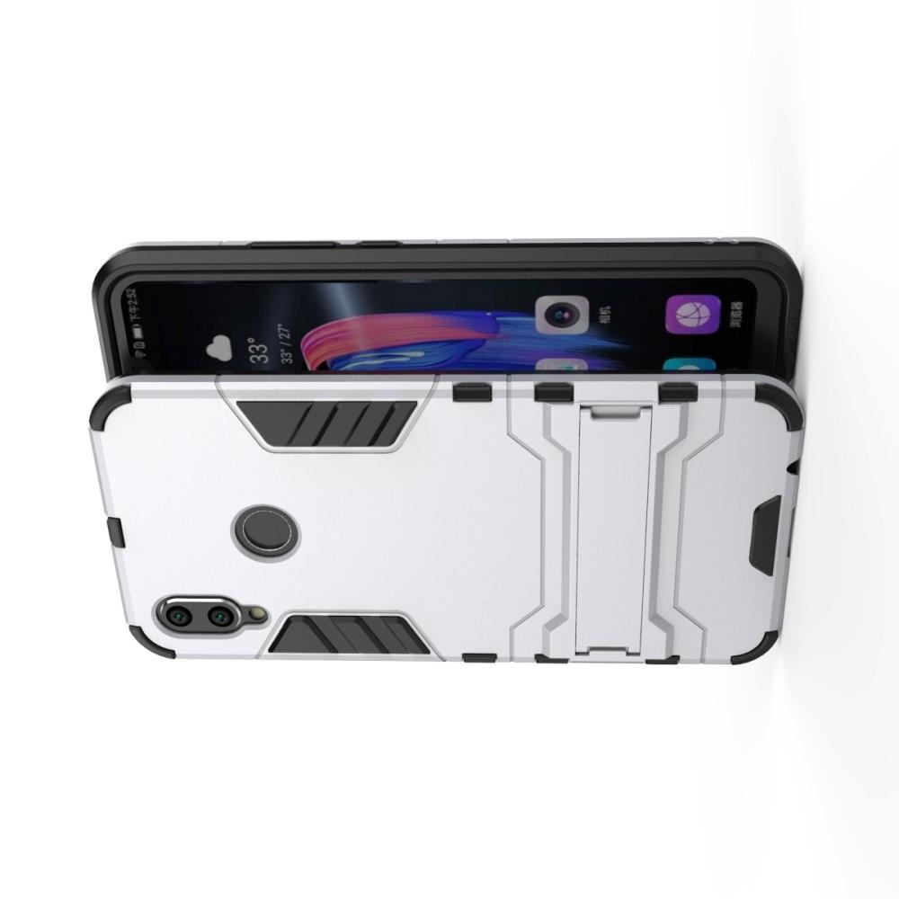 Защитный усиленный гибридный чехол противоударный с подставкой для Huawei Honor 8X Белый